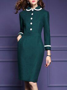Green Doll Collar Pockets Sheath Dress