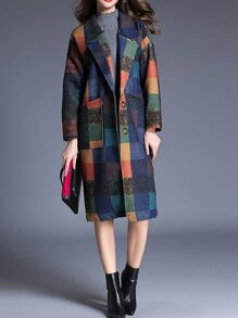 Color Block Lapel Pockets Coat