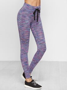 Purple Marled Knit Drawstring Waist Leggings