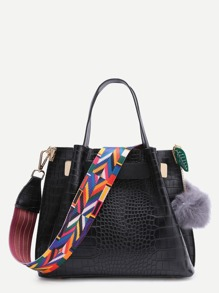 Black Croc Embossed Faux Leather Wide Strap Tote Bag