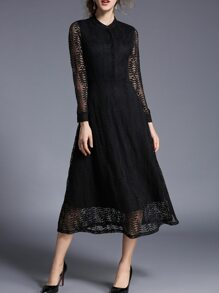 Black Sheer Maxi Lace Dress