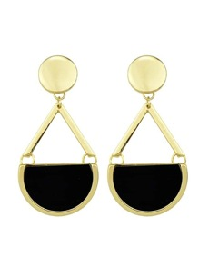 Black Imitation Gemstone Big Drop Earrings