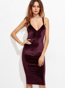 Burgundy Double Strap Crisscross Back Velvet Pencil Dress