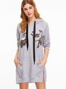 Grey Cranes Embroidery Split Side Drawstring Hooded Sweatshirt