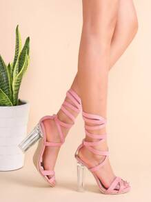Pink Suede Strappy Criss Cross Sheer Heel Sandals