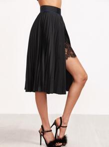 Black Lace Insert High Split Pleated Skirt