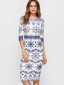 Blue And White Vintage Print 3/4 Sleeve Pencil Dress