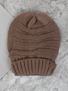 Chunky Knit Beanie Hat TAUPE