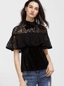 Black Bow Neck Crochet Shoulder Ruffle Velvet Top