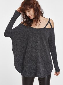 Dark Grey Cold Shoulder Curved Hem Oversized T-shirt