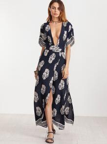 Navy Vintage Print Plunge Neck Open Back Kimono Wrap Dress
