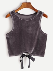 Purple Tie Front Crop Velvet Tank Top