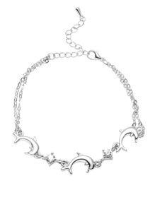 Silver Tone Dolphin and Gem Charm Link Bracelet
