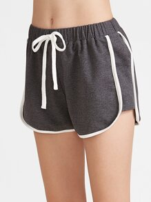 Dark Grey Contrast Binding Dolphin Shorts