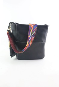Black Patchwork Leather Wide Strap Bucket Bag With Purse
