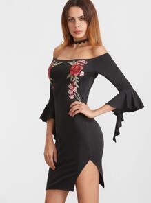 Black Embroidered Rose Applique Off The Shoulder Ruffle Sleeve Dress