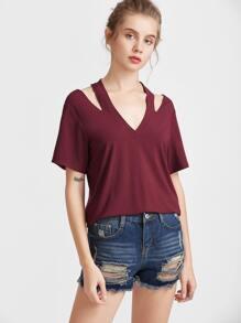 Burgundy Halter V Neck Short Sleeve T-shirt