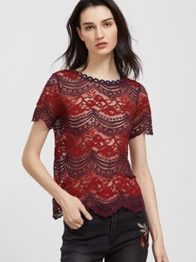Red And Purple Tasseled Tie Back Sheer Floral Lace Top