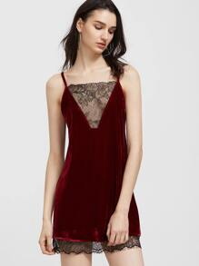 Burgundy Contrast Lace Trim Strappy Back Velvet Cami Dress