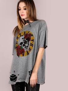 Oversized Short Sleeve Royalty Graphic Tee GREY