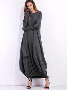 Dark Grey Elastic Hem Shift Dress
