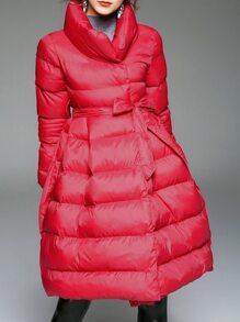 Red Lapel Tie-Waist Coat