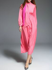 Hot Pink Tie Neck Maxi Dress