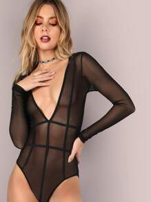 Deep V Mesh Bind Bodysuit BLACK