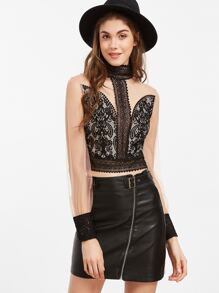 Contrast Keyhole Back Embroidered Lace Applique Mesh Top