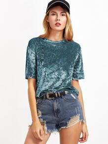 Green Short Sleeve Crushed Velvet T-shirt
