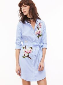Blue And White Striped Self Belted Embroidered Shirt Dress