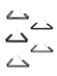 Black Mesh Lace Choker Necklace Set