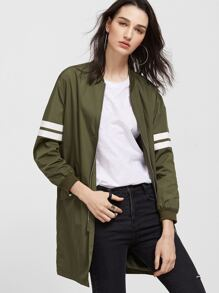 Olive Green Striped Sleeve Longline Zip Up Bomber Jacket