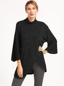 Black Cowl Neck Raglan Sleeve Wrap Front Sweater