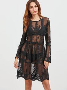 Black Long Sleeve Cover Up Embroidered Mesh Dress