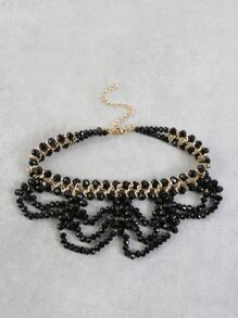 Scalloped Bead Metallic Choker BLACK
