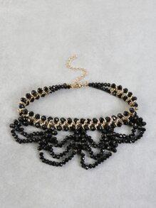 Scalloped Bead Metallic Choker BLACK