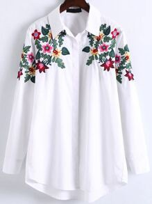 White Floral Embroidery High Low Blouse
