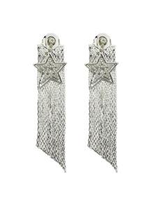 Silver Color Star Shape Long Chain Earrings