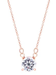 Rose Gold Plated Crystal Pendant Necklace