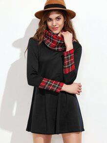 Black Contrast Plaid Cuff Tee Dress With Scarf