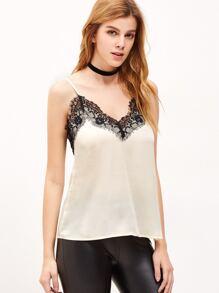 White Contrast Lace Trim Cami Top