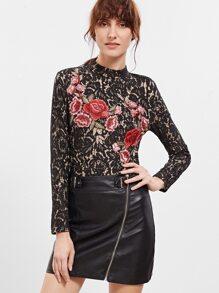 Black Embroidered Rose Applique Floral Lace Bodysuit