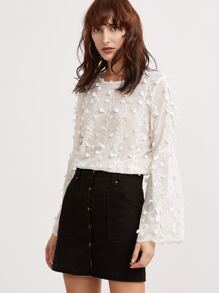 White Bell Sleeve Botanical Applique Embroidered Top
