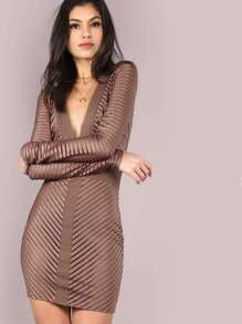 Plunging Burn Out Dress MOCHA