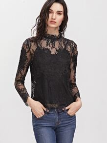 Black Embroidered Flower Applique Sheer Lace Top With Cami