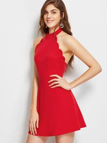 Red Halter Neck Backless Scallop Skater Dress