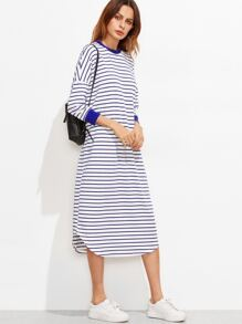 Blue And White Striped Drop Shoulder Curved Hem Dress