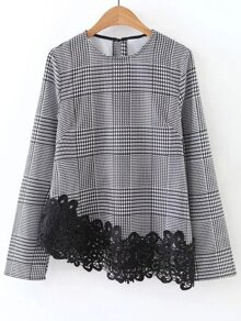 Black And White Embroidered Lace Trim Asymmetric Houndstooth Top