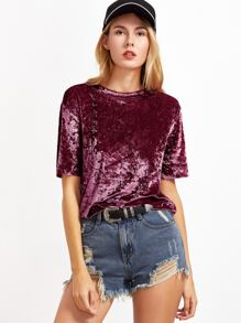 Burgundy Short Sleeve Crushed Velvet T-shirt